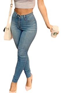 ZKOO Cintura Alta Pantalones Jeans Mujer Elástico Flacos ...