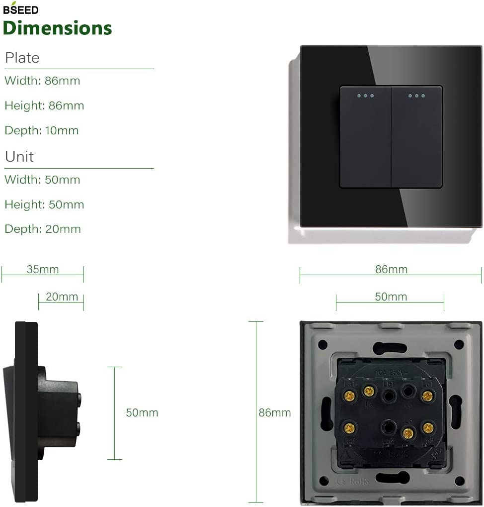 negro BSEED Interruptor de bot/ón de pared de cruce 1 velocidad 3 v/ías 4 v/ías sin tornillos 10 A interruptor de palanca del panel de cristal t/áctil