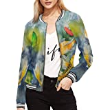 INTERESTPRINT Women's Watercolor Carp Koi Fish Lilies Jacket Coat