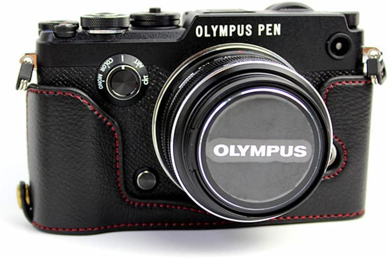 PEN-F Case, BolinUS Handmade Genuine Real Leather Half Camera Case Bag Cover for Olympus PEN-F Bottom Opening Version + Hand Strap - Black