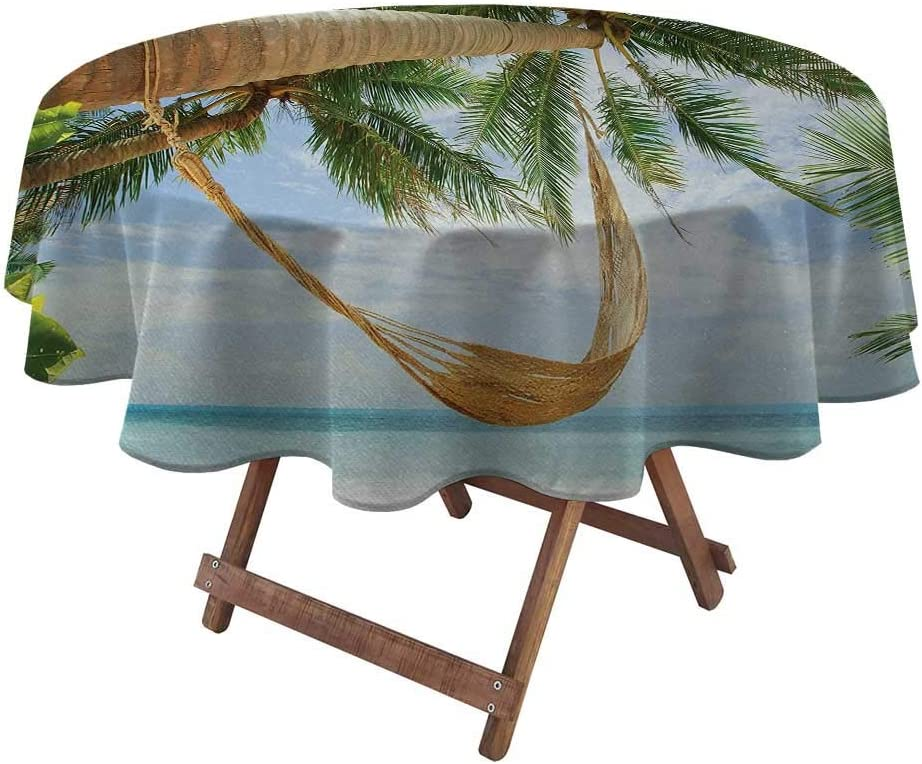 """Spring Tablecloth Holiday for Garden Patio Party Tabletop View of Nice Hammock with Palms by The Ocean Sandy Shore Exotic Artsy Print 50"""" Diameter Green Cream Blue"""