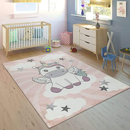 Paco Home Childrens Rug Childrens Bedroom Girls Modern Unicorn on Clouds in  Pink Purple, Size:80x150 cm