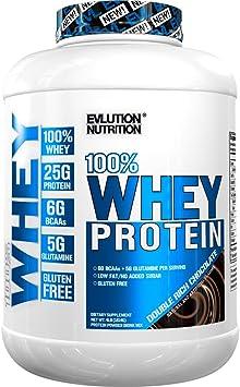 Evlution Nutrition 100% Whey, 25g de Proteína de Whey, 6g de BCAA, 5g de Glutamina, Libre de Gluten, 1.82 kg (Doble Chocolate)