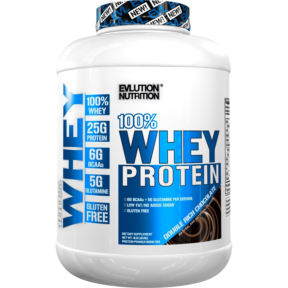 Evlution Nutrition 100% Whey Protein, 25g of Whey Protein, 6g of BCAAs, 5g of Glutamine, Gluten Free (4 LB, Double Rich Chocolate) by Evlution