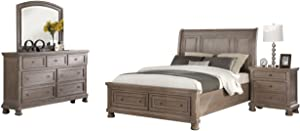 New Classic Allegra Bedroom Set with Queen Bed, Nightstand, Dresser and Mirror