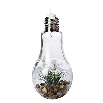 Mojawo Led Gluhlampe Deko Lampe Glas Mit Kunstpflanze Zum Aufstellen