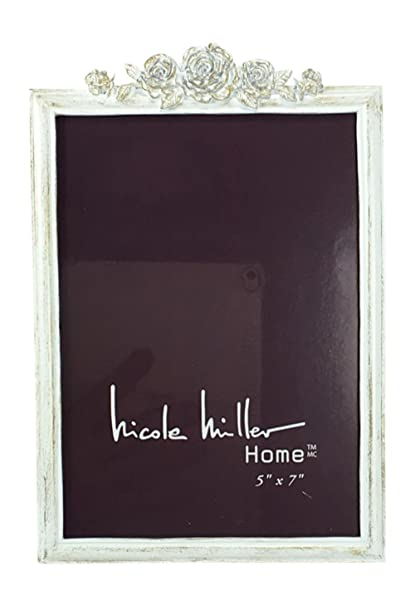 Rose Picture Frame Distressed White With Gold By Nicole Miller 5 X 7
