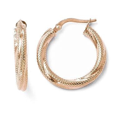 1a2c3ef455de8 Leslie's 10K Rose Gold Textured Hinged Hoop Earrings