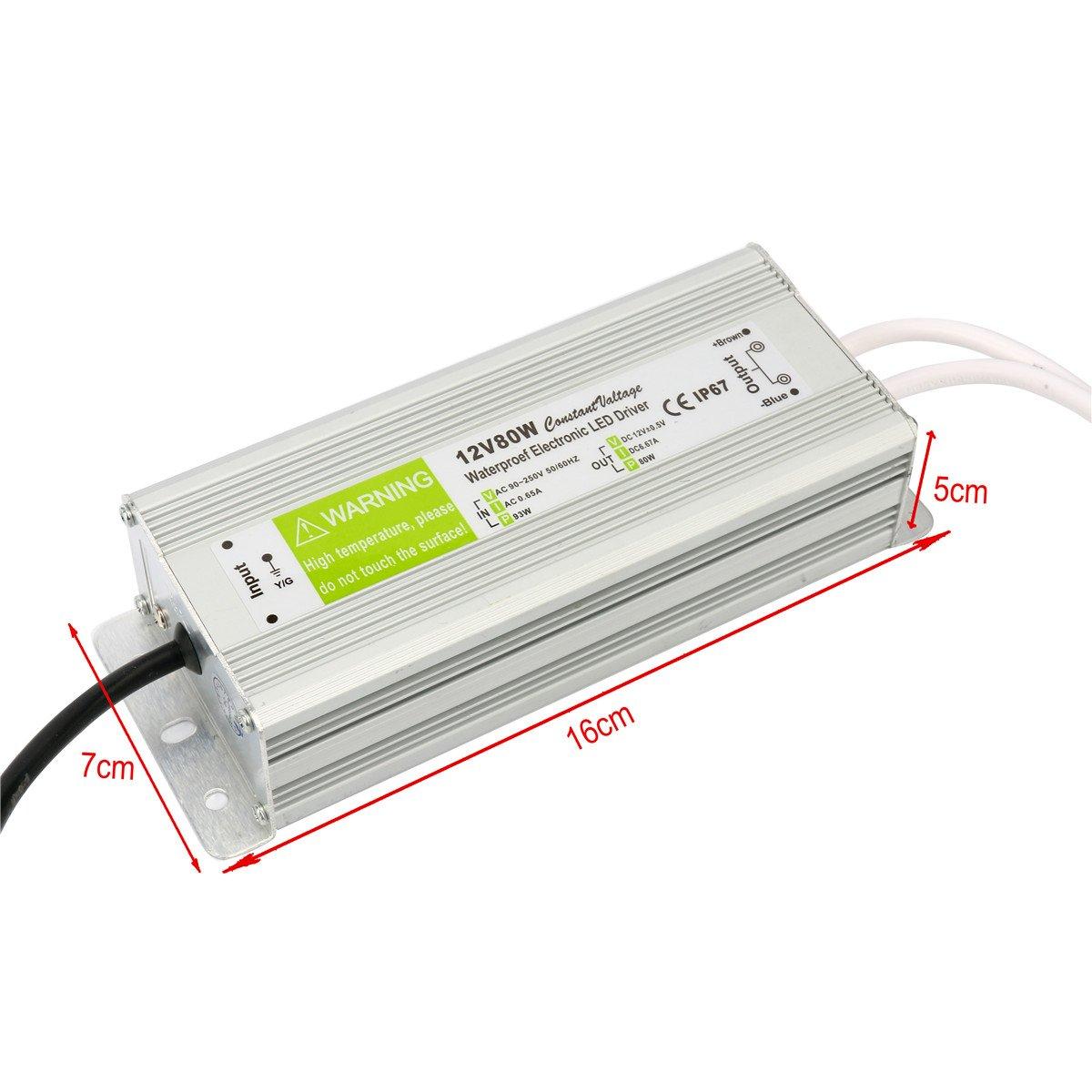 Yaetek AC 90-250V to DC12V 80W Transformer IP67 Waterproof Electronic LED Driver Power Supply