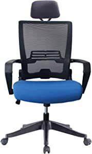 5 Minutes Completely Easy Installation Ergonomic Office Foldable Swivel Home Mesh Back Task Chair (Black/Blue W/Head Rest)