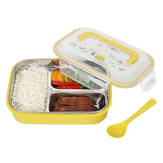 OldPAPA bento Box,Caja de Almuerzo Bento de Acero Inoxidable para niños Adultos, 3 porciones de preparación de Comidas Caja de Bento sin BPA
