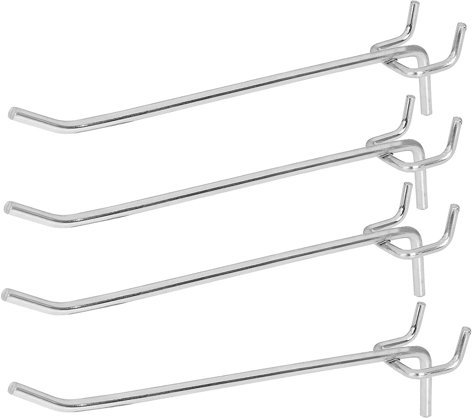 40 Pack 6 inch Metal Pegboard Hooks fits 1/8 Pegboard, Slatwall Holes and Grid Wire Panels, 1/8 inch Diameter PEG Board Pegboard Shelving Hooks for Garage, Office, Kitchen, Craft Shop, Retail Shop