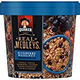 Cheap Quaker Real Medleys Oatmeal+, Blueberry Hazelnut, Instant Oatmeal+ Breakfast Cereal (12 Cups) (Packaging May Vary)