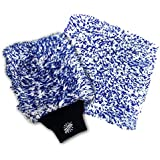 "(2-Pack) THE RAG COMPANY Premium CYCLONE Korean Microfiber Wash Mitt and Huge 10"" x 10"" CYCLONE 10X Wash Pad - TOTALLY SCRATCH-FREE, LINT-FREE"