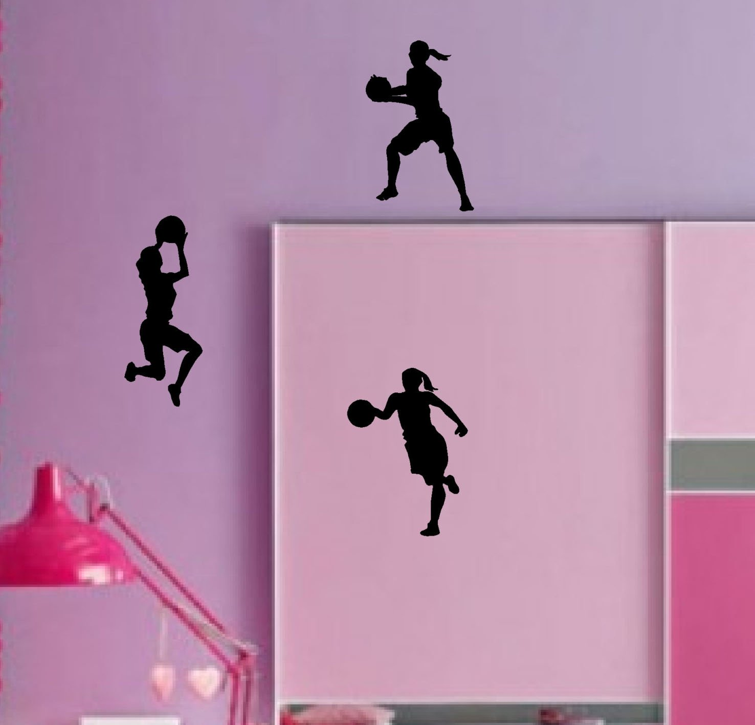 "Dnven (9""w X 12""h X 3pcs) Set of 3 Women Girls Basketball Player Silhouette Girls Room Removable Wall Decals Stickers Decors"