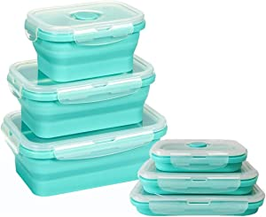 Collapsible Silicone Food Storage Containers with lids - Set of 3 Rectangle for Camping, Traveling, leftover, Meal Prep Lunch Containers– BPA Free, Microwave, Dishwasher and Freezer Safe (Mint Green)