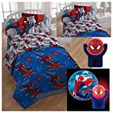 Marvel Ultimate Spiderman Boys Twin Comforter & Sheet Bedding Set with Kids Spider-Man Projectable LED Night Light