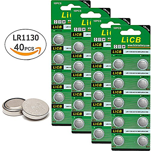 Price comparison product image LiCB 40 Pack LR1130 AG10 Batteries 1.5V Alkaline Button Cell Battery for Watch