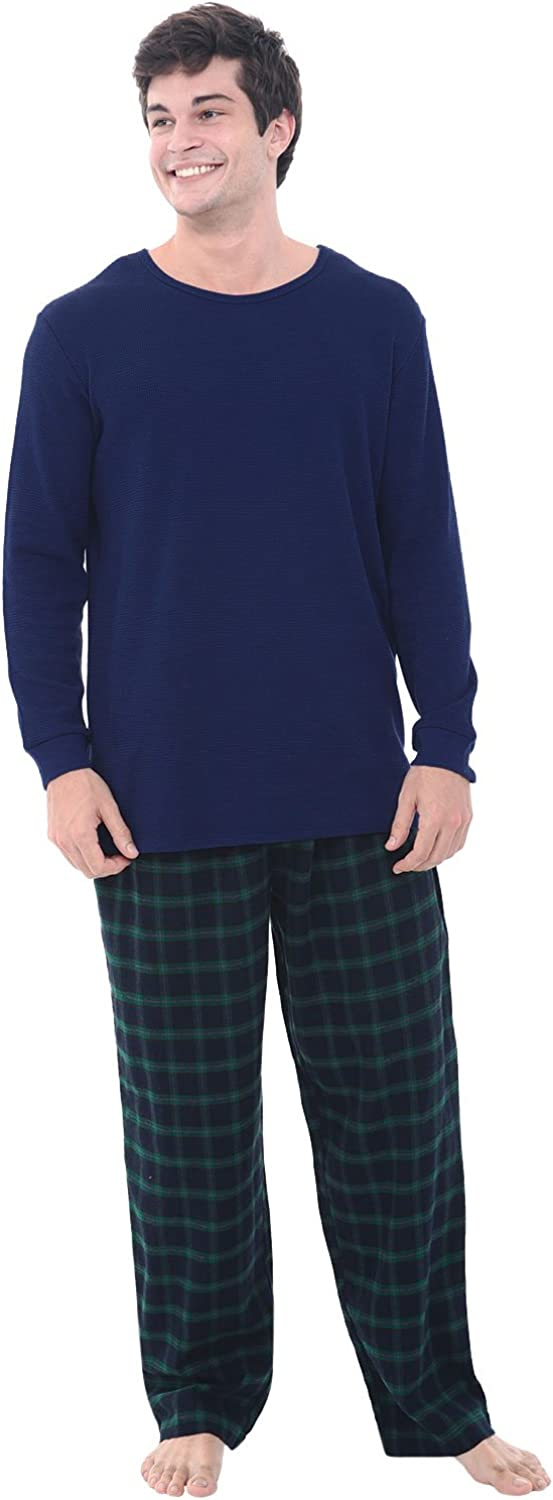 Alexander Del Rossa Mens Flannel High quality Thermal Limited time cheap sale Top Cotto Pajamas Knit