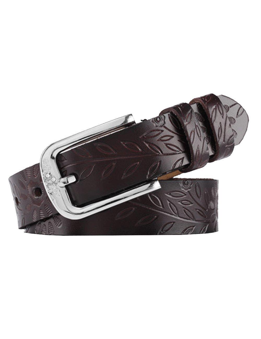Chicwe Women's Plus Size Embossing Antique Genuine Leather Waist Belt Alloy Buckle Black 135 C17B007B01