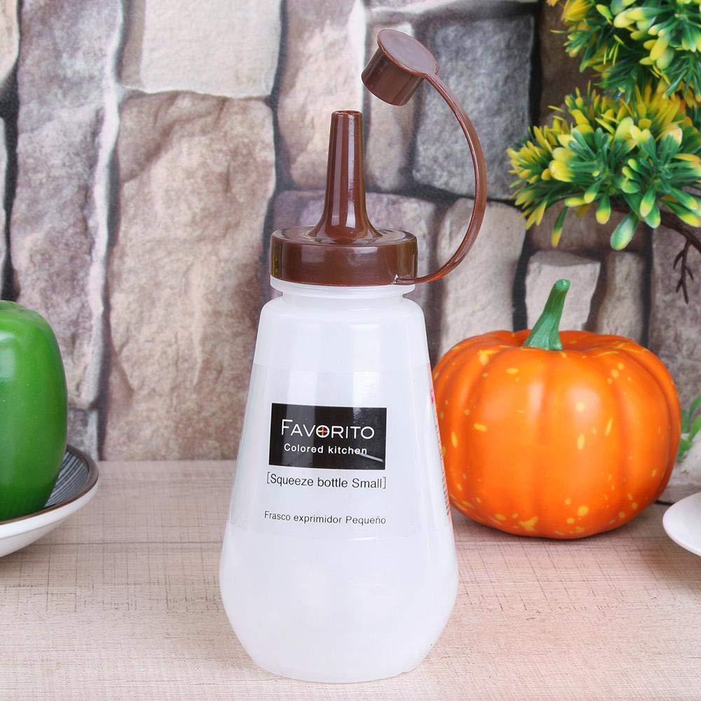 Amazon.com: VKTECH 250ml Clear Condiment Squeeze Bottle Plastic Sauce Vinegar Oil Ketchup Cruet Kitchen Dispenser (With Cover): Kitchen & Dining