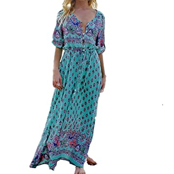 f0354e6a835d1 Auwer Sexy Women Bohemian Floral Printed Long Maxi Long Sleeved Dress V  Neck Chic Buttons Evening...