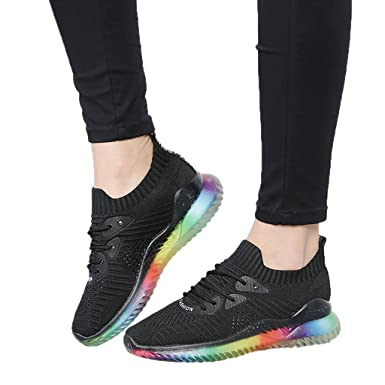 0bc9a5f7eb15c Amazon.com: Women's Sport Shoes Rainbow Jelly Soles Sneakers Outdoor ...