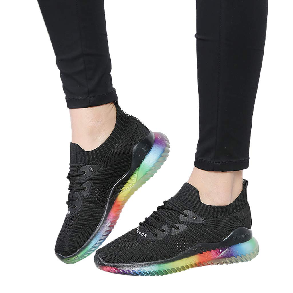Women's Breathable Casual Sneakers Trend Woven Rainbow Jelly Soles Outdoor Sport Running Slip-on Shoes by Dacawin_Women Sport Shoes (Image #3)