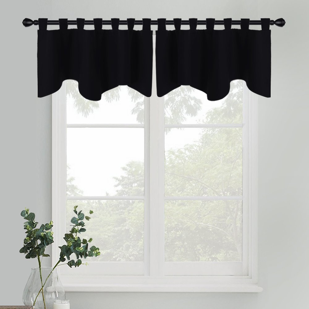 PONY DANCE Window Scalloped Valances - Blackout Tiers Solid Color Short Curtain Drapes Living Room/Laundry / Bedroom Window Dressing Home Decoration, W 52'' x L 18'', Black, 2 Panels