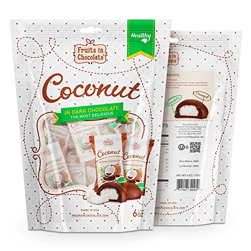 Dark Chocolate Covered Coconut, 6 Oz Bag