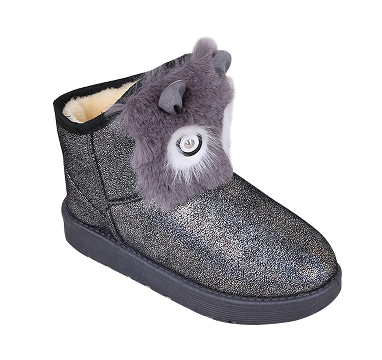 PerfectAZ Women's Fashion Elegant Stylish Shiny Vamper Fur Platform Heels FOX Pattern Round-Toe Slip-On Rubber Sole Winter Warm Snow Boots
