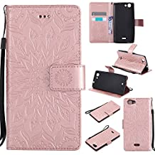 Ooboom Wiko Pulp FAB 4G Case Sunflower Pattern PU Leather Flip Cover Wallet with Kickstand Card Holder for Wiko Pulp FAB 4G - Rose Gold