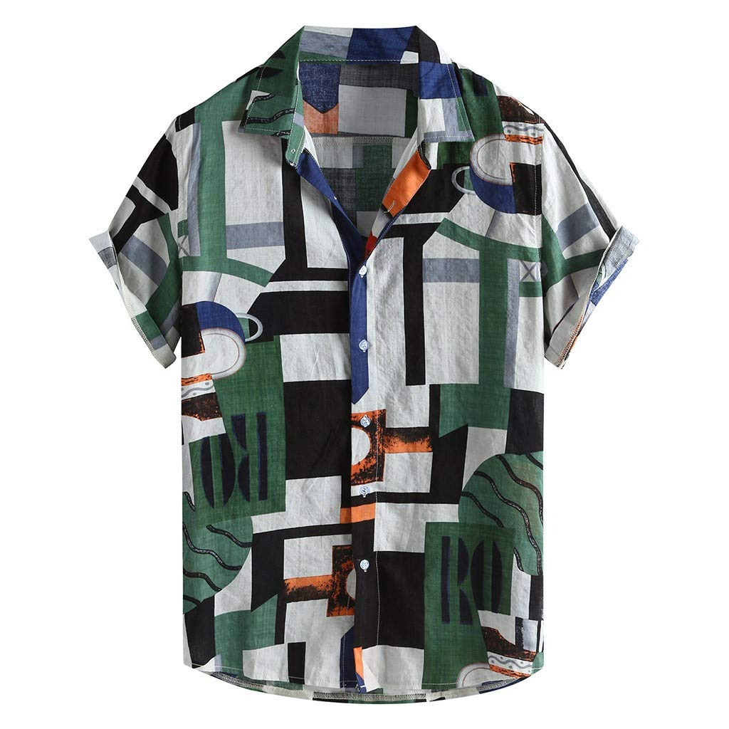 Uqiangy Mens Ethnic Style Summer Short Sleeve Loose Fit Buttons Down Shirt Blouse Tops
