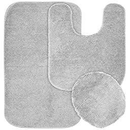 Garland Rug 3-Piece Glamor Nylon Washable Bathroom Rug Set, Platinum Gray