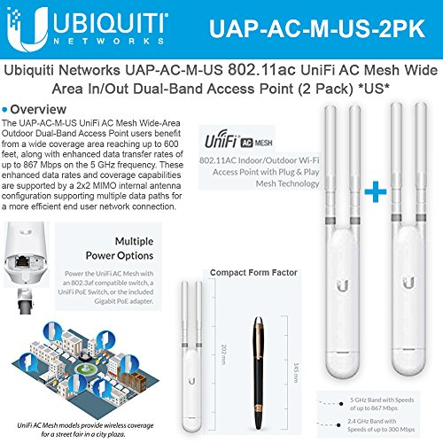 UniFi AP AC Mesh UAP-AC-M-US Wide-Area Indoor/Outdoor Dual-Band Access Point (2 Pack)