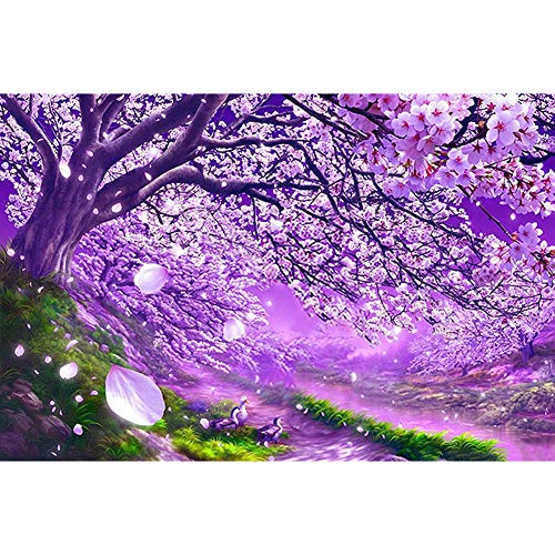5D Diamond Painting Kits for Adults Full Drill, Cherry Blossoms 40X30cm Embroidery Paintings Pictures Arts Craft for Home Wall Decor