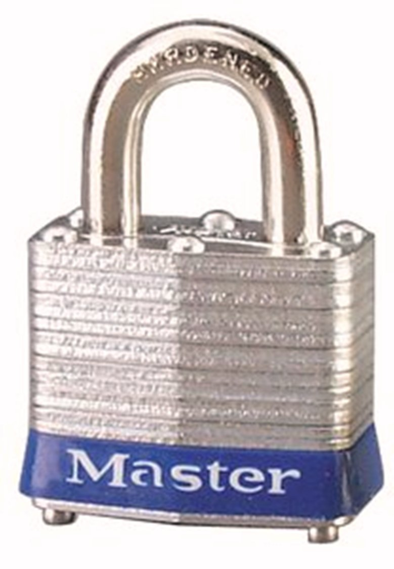Master Lock 3BLU No. 3 Safety Lockout Padlock, Steel Body, Blue Bumper by Master Lock