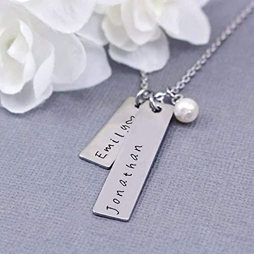 Mother/'s Day Gift PNDD916RS2 Personalized Vertical Bar Keychain Bar Necklace for her Stainless Steel Cutomizable Chain Name Necklace