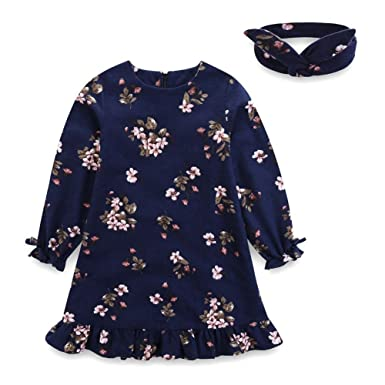 0e06fa7d3fd Comfybuy Baby Teen Girls Casual Floral Princess Dress Headband Set Long  Sleeves Blue 1-2T