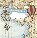 Old World Map Plane Air Balloons Exploring Compass Checkers backdrops High-grade Pictorial cloth Computer print children kids Backgrounds CST521