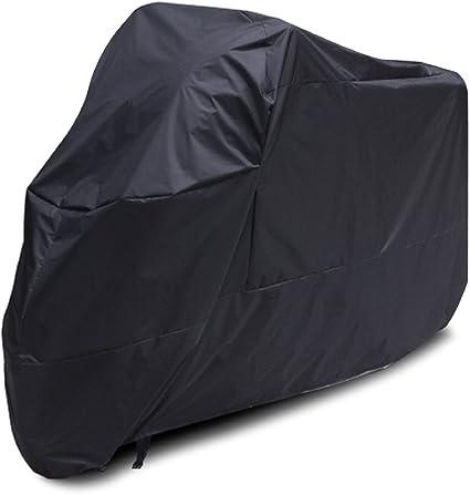 ANFTOP Funda para moto Impermeable Protector de 180T Polyester 3XL Cubierta de Moto motocicleta scooter Negro Talla XXXL