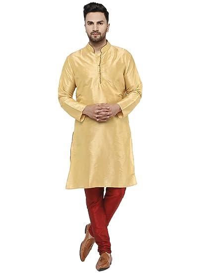 Traditional Wear Men/'s Dupion Silk Kurta Pajama Kurta Set Ethnic Indian Dress
