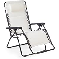 Coral Coast Zero Gravity Chair w/ Drink Tray and Sunshade (White)
