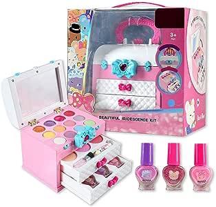 circulor Set De Juguete De Maquillaje Lavable, Maletín De Maquillaje Infantil Set De Cosméticos Y Brochas - Juegos Y Juguetes para Niñas: Amazon.es: Hogar