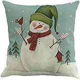 Christmas Pillow Case,Beautyvan Christmas Linen Square Throw Flax Pillow Case Decorative Cushion Pillow Cover (5~C)
