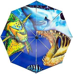 Travel Umbrella, Windproof Folding Umbrella, Auto Open Close and Ergonomic Handle (Mako Shark)