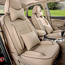 Custom Fit PU Leather Car Seat Covers Sets Interior Accessories For Lincoln MKT Seat Covers for Cars Seats Protectors Airbags Compatible 21PCS/Set All 3 Row 6 Seats Complete (Beige)