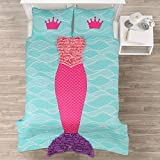 Lush Decor Lush Décor Mermaid Ruffle 3Piece Quilt Set, Full, Pink/Purple