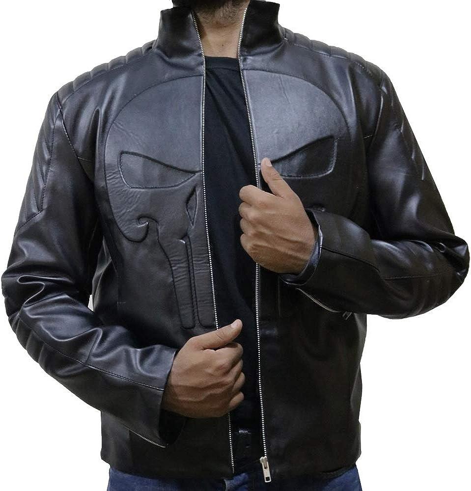 Skull Black Leather Jacket for Mens, XXS-3XL