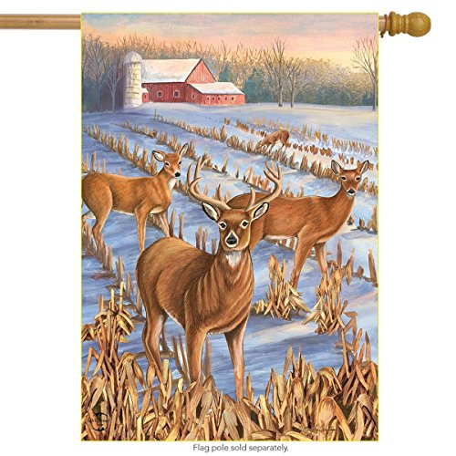 (Briarwood Lane Winter Deer Farm House Flag Snowy Meadow Buck Doe 28